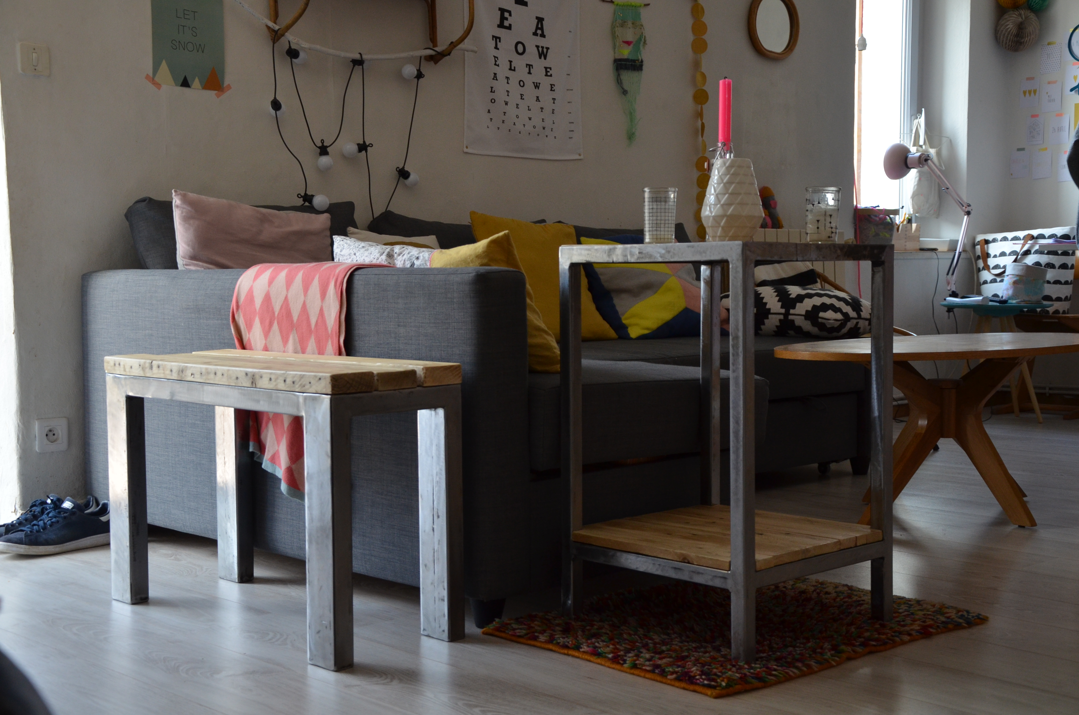 desserte salon et banc romuald noirot. Black Bedroom Furniture Sets. Home Design Ideas